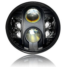 "7"" Motorcycle Black Projector 80W HID LED Light Bulb Headlight For Harley"