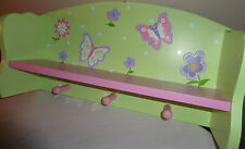 GIRLS PINK AND GREEN DECORATIVE BUTTERFLY WOODEN WALL HANGING SHELF WTH PEG HOOK