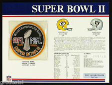 SUPER BOWL 2 ~ 1968 PACKERS RAIDERS Willabee Ward OFFICIAL NFL SB II PATCH CARD