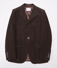 NWT $2495 D'AVENZA Chocolate Brown Heavy Moleskin Cotton Blazer 38 R Slim-Fit