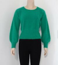 Vintage Higbee's Green Angora Wool Blend Pullover Sweater Italy Small medium