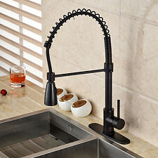 "Oil Rubbed Bronze Pull Down Spray Kitchen Sink Faucet with 8"" Holes Cover Plate"