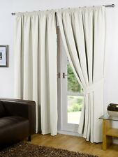Pair of Cream 90'' x 72'' Supersoft Blackout Thermal Pencil Pleat Curtains
