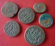 6 Kupfermünzen, Mogulreich, Indien 1526-1858