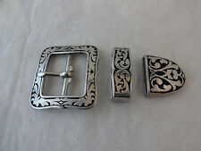 "Jeremiah Watt 3 Piece Gun Belt Buckle Keeper Loop Tip 1 1/2"" Horse Western Black"