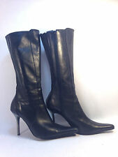 amazing STEVE MADDEN black leather side zip silver spike heel boots 10