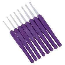 8Pcs Ergonomic Plastic Handles Crochet Hooks Knitting Knit Needles Set Purple ED