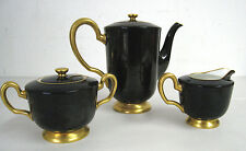 OAC Okura Art China Japan Porcelain Josephine Black Gold Demitasse Teapot Set