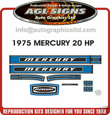 MERCURY 20 hp DECALS 1975 reproductions stickers