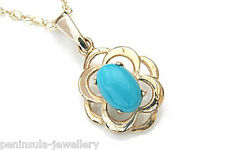 9ct Gold Turquoise Celtic Pendant and Chain Made in UK Gift Boxed