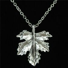 10-3 Silver Plant Alloy 31mm Maple Leaf Pendant Chain Collar Choker Necklace 18""