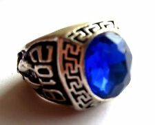 Elegant Tibet silver Carved eagle blue Gemstone men's ring