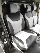 RENAULT TRAFIC 2010 VAN SEAT COVERS SILVER + BLACK LEATHERETTE MADE TO MEASURE