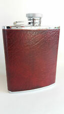 Curved Hip Flask, Stainless Steel, Flip Top, Burgundy Leather. 6oz Made England