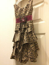 LN My Vintage Baby 24M Animal Print Ruffle Dress & Velvet wrap Flower Worn Twice
