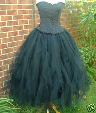 NEW Long Black tutu skirt 16 LINED gothic whitby quirky princess fairy gypsy SML