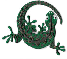 Gecko - Lizard - Southwest - Green & Brown - Embroidered Iron On Applique Patch