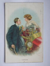 INNAMORATI lovers Flirtation old postcard AK vecchia cartolina auto car Chester