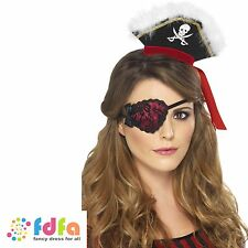 RED PIRATE EYEPATCH WITH BLACK LACE womens ladies fancy dress costume accessory