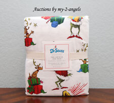 Pottery Barn Kids Dr. Seuss Christmas THE GRINCH AND MAX Flannel Full Sheet Set