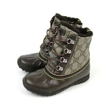 New Authentic Gucci Kids GG Plus/Leather Shearling Boot, 32/US 1, 271780