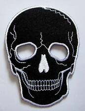 BLACK SKULL MOTORCYCLE BIKER ROCK PUNK Embroidered Iron on Patch Free Shipping
