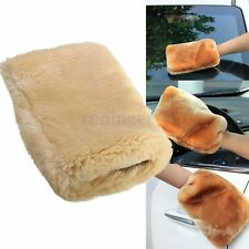 Lambswool Wool Plush Car Clean Washing Buffing Polishing Mitt Glove 24x16cm Tool
