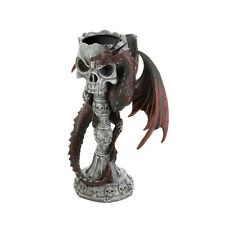Medieval Gothic Skull and Red Dragon Pillar Candle Holder