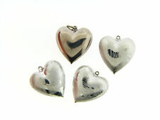 NOS Silver Puff Style Swirl Effect & Polished Loose Charm Penant Bead Lot 4 pcs