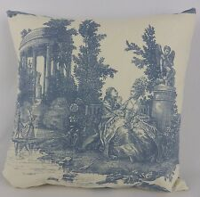 "Blue French Toile Pillow Cushion Cover Christopher Moore Trianon 16"" Shabby Chic"