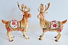 """Fitz and Floyd Father Christmas Reindeer Candle Holders 12"""" Unused, Box"""
