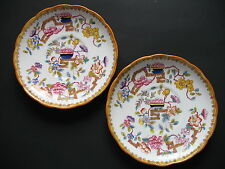 Hammersley 10072   Set of 2 Large SAUCERS ONLY (for Breakfast Cup) Floral Orange