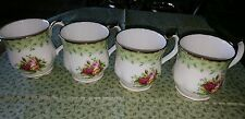 royal albert old country roses green trim 4 mugs