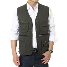 Mens Vests Casual Comfy Multi-pocket Vest Fishing/Photography/ Director Waistcot
