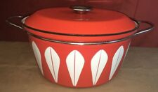"Cathrineholm LOTUS 12.5"" D x  7.5"" T Enamel Dutch Oven Pot w/ Lid, ORANGE"