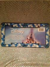 DISNEY STITCH LICENSE PLATE AUTO TAG FRAME - BLUE & WHITE HAWAIIAN FLOWERS
