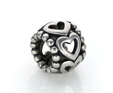 Filigree Heart Charm Stainless Steel Beads Fit European Charm Bracelets
