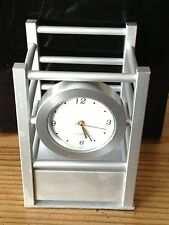 Pen & Pencil Holder With Clock, Brushed Silver Finish, New In Box