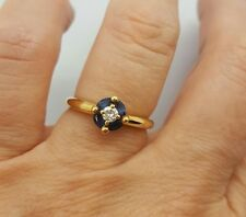 Fine Estate sapphire diamond ring band set in 18K yellow gold,size 7,5