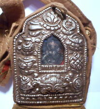 Tibetan Green Tara Goddess Gau Ghau Prayer Box Shrine in Cloth Case w Strap #3