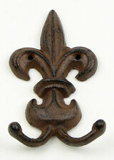 "Set of 2 Fleur De Lis Double Wall Hook Cast Iron 3 1/2"" wide"