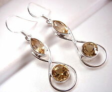 Faceted Citrine Marquise Earrings 925 Sterling Silver Dangle Drop Round Hoop New