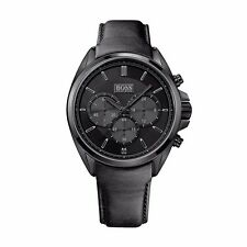 Hugo Boss 1513061 Driver Men's  Chronograph Black Dial Black Leather Watch
