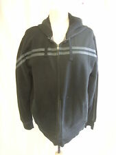 Mens Hooded Top - NEXT, size L, black, polycotton, zip up, bobbly/worn/used 1056