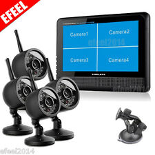 "Wireless 4 CH Quad DVR 4 Cameras with 7""TFT-LCD Monitor Home security system"