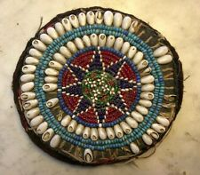 ANTIQUE HAND BEADED NATIVE AMERICAN INDIAN MEDALLION ROSETTE BEADS DISK
