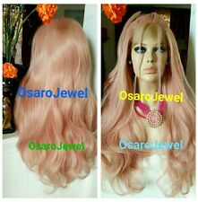 Pink beauty NEW hairstyle. Wavy Rosey ombre.  lace front wig. human hair blend.