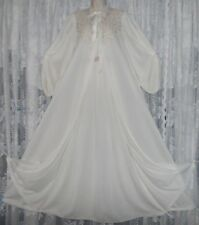 Vtg Elegant Bridal Pale Ivory Leonora Peignoir Robe Nightgown Negligee Gown M T