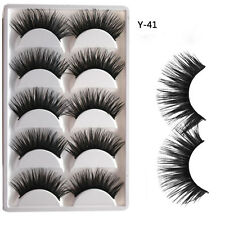 5 Pairs Natural False Eyelashes Extra Long Thick Black Handmade Fake Eye Lashes