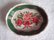 Lefton China, 1990,  Soap, Nut or Candy Dish,  Rose and Holly Bouquet Pattern